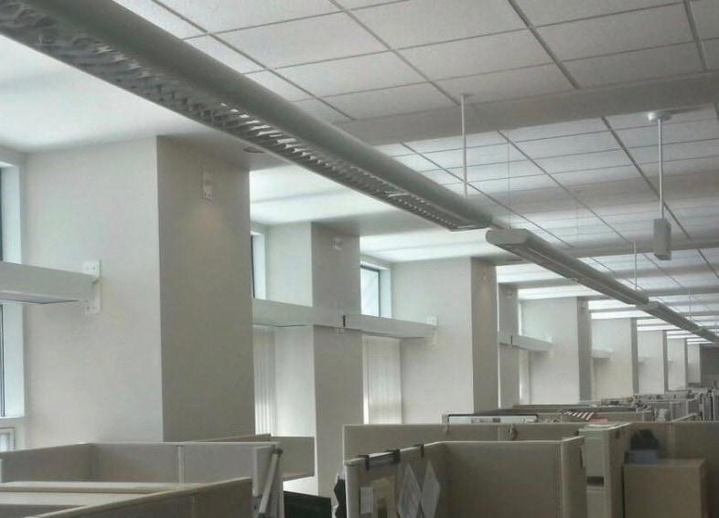 daylight redirecting window film in office
